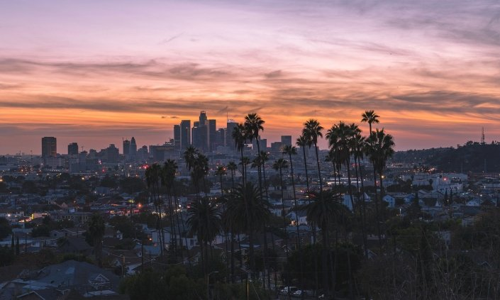 Los Angeles downtown sunset drone photo