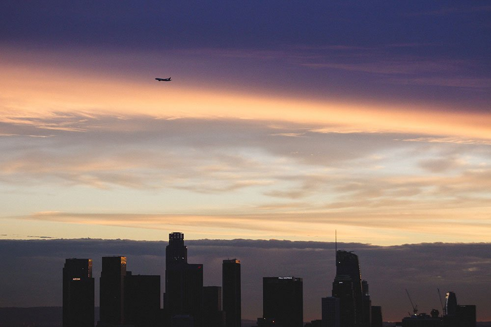 Downtown Los Angeles skyline drone photo