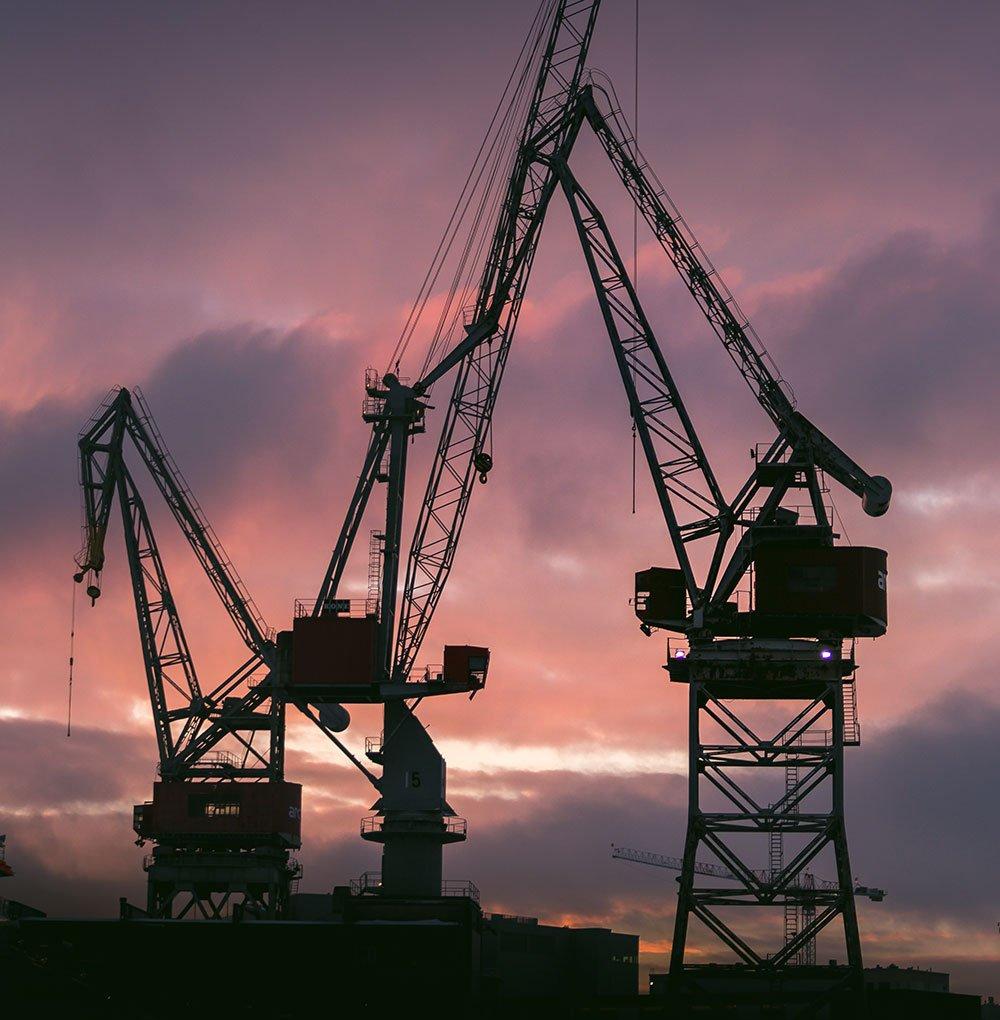 Construction cranes drone photo