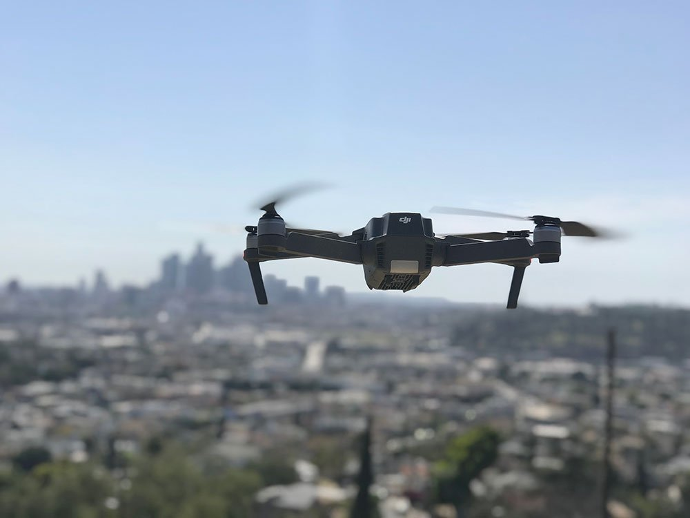 Drone flying in Los Angeles
