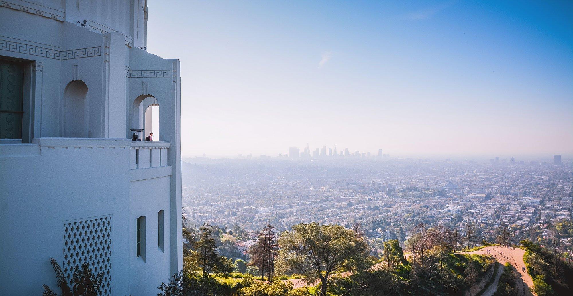 Drone Photo of Los Angeles skyline