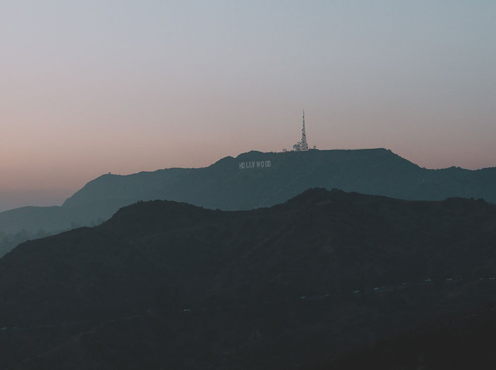 Los Angeles Hollywood sign drone photograph