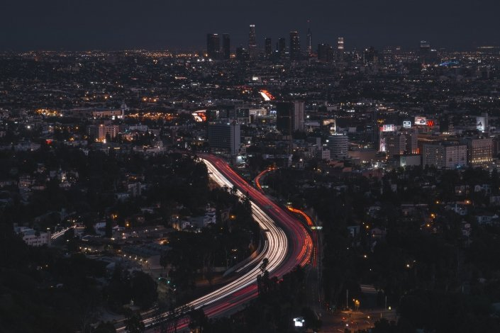 Downtown Los Angeles Skyline at night drone photo