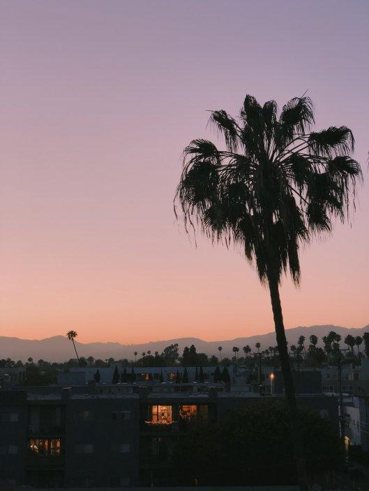 LA Hills sunset skyline drone photo