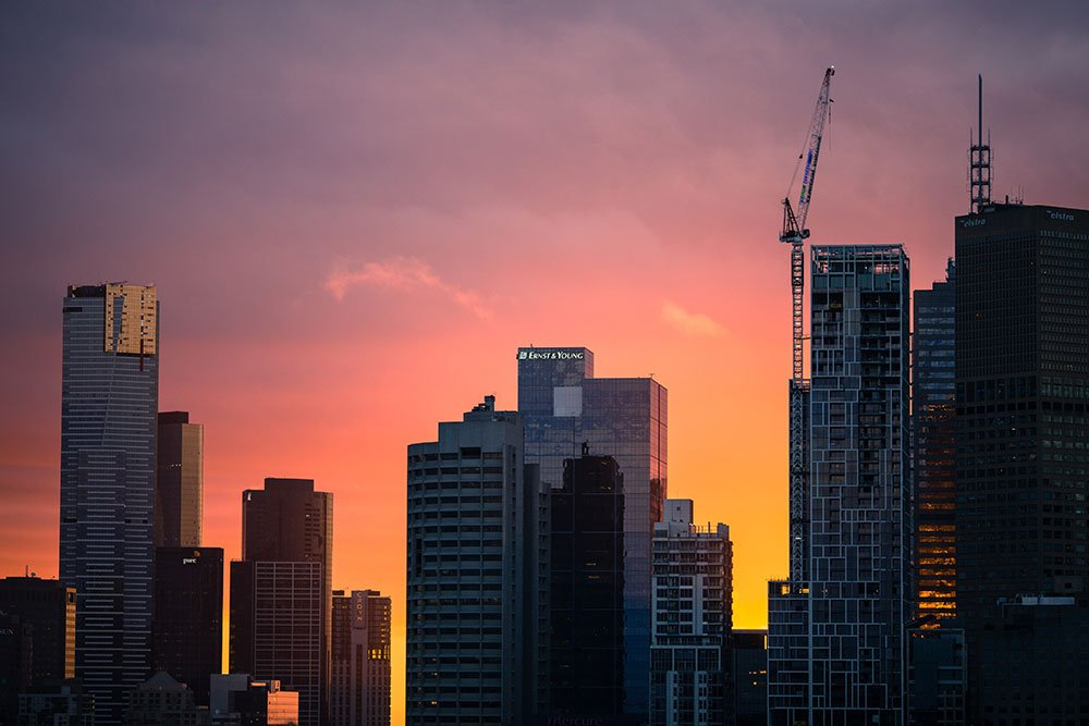 Drone construction photography at sunrise Los Angeles