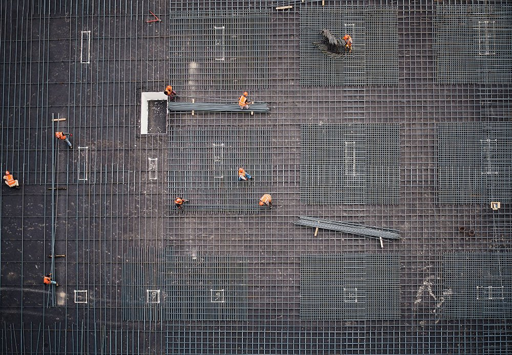 Construction workers drone photo
