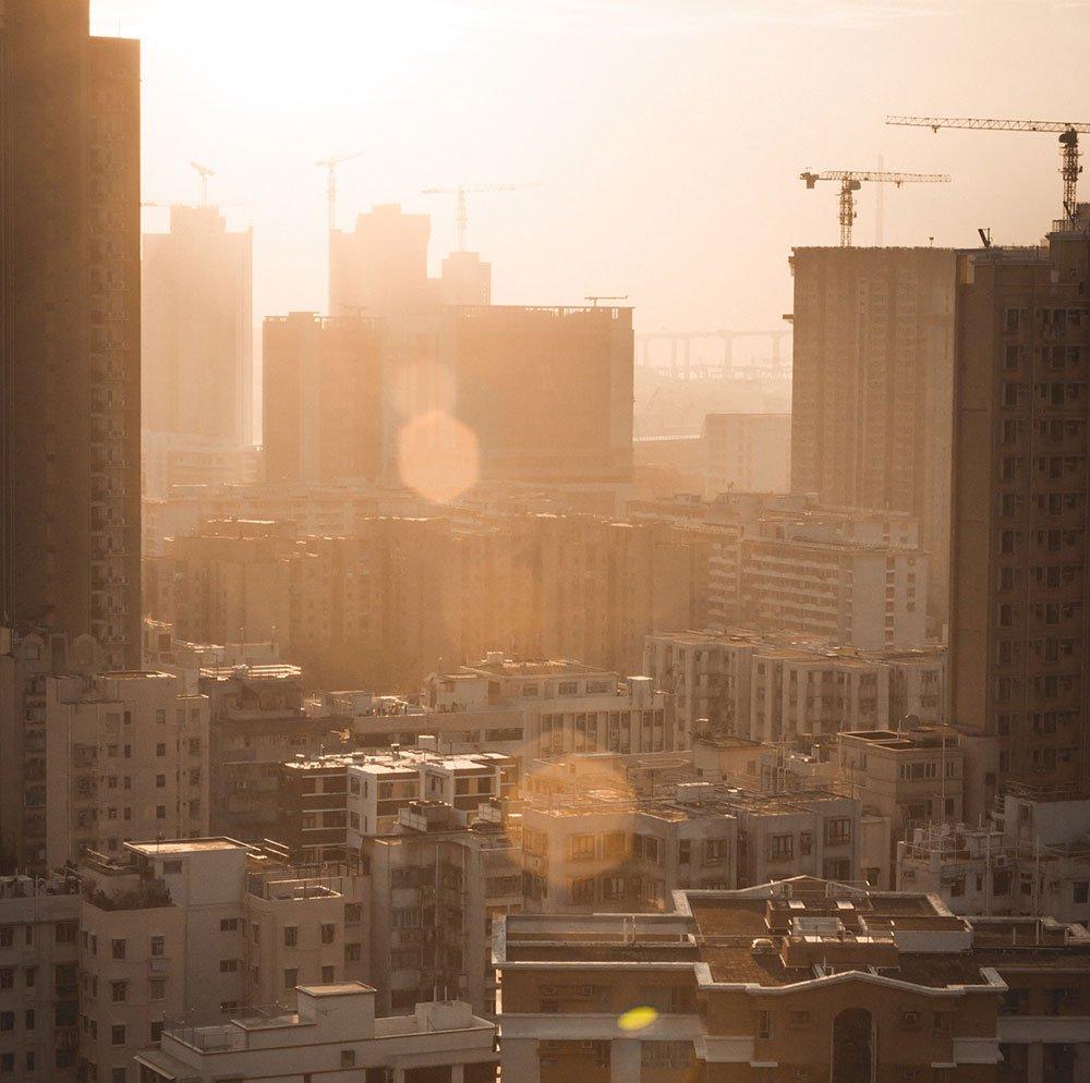 Sunrise construction drone photo city skyline