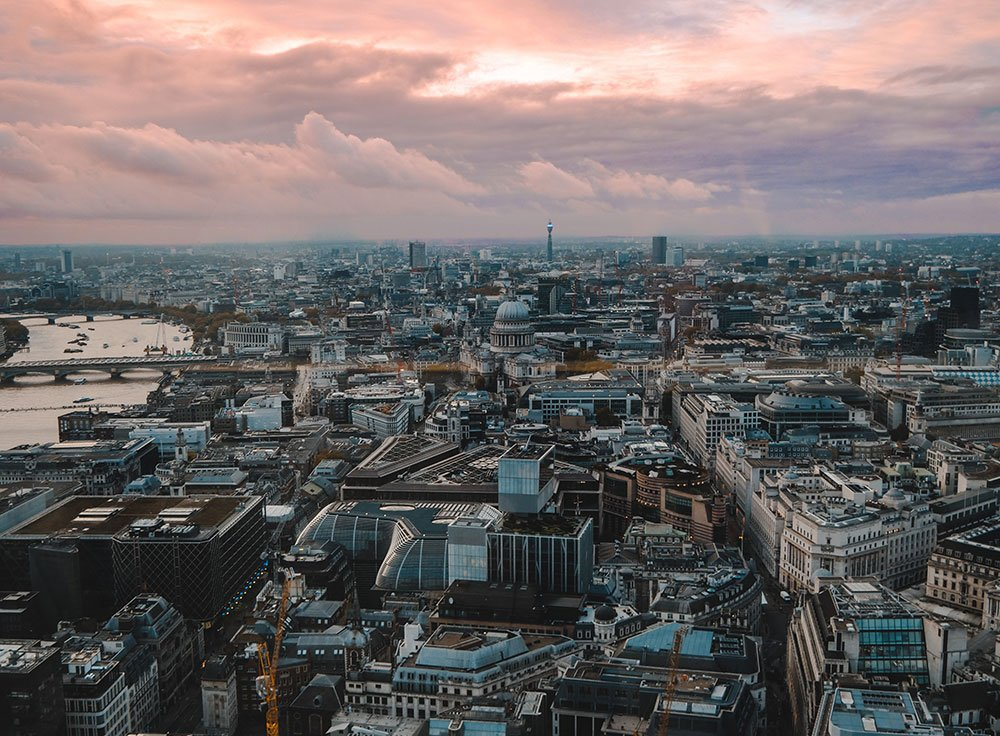 Aerial city photo at sunset
