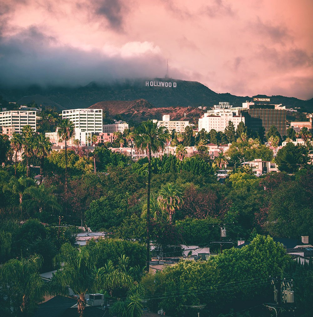 Hollywood sign aerial photo