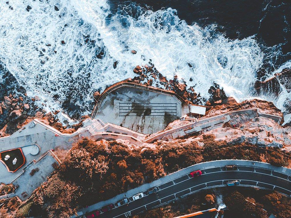 Drone photo of coastal California highway