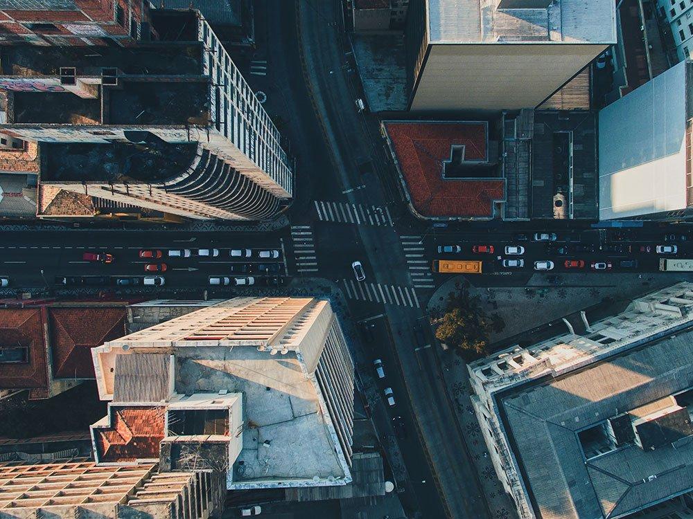 Downtown Aerial city landscape Shot at sunrise