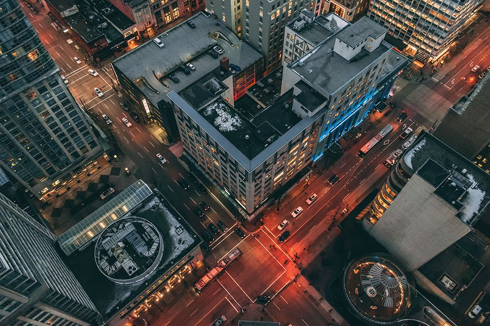City drone photography