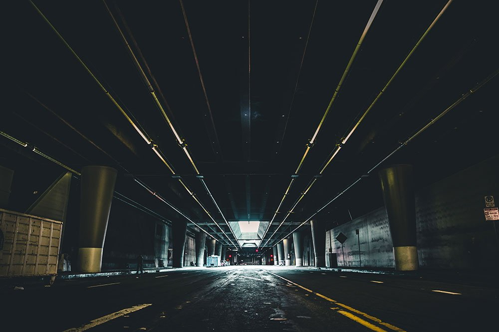 Cinematic underpass scene in Los Angeles, CA