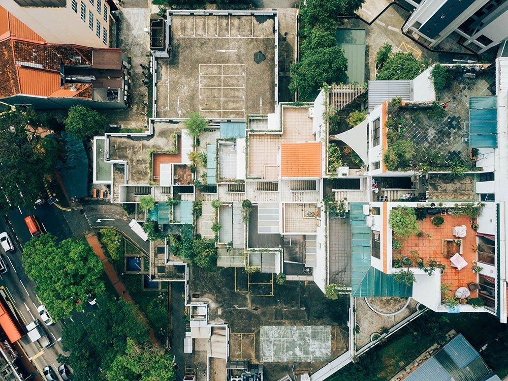 Residential neighborhood aerial photo