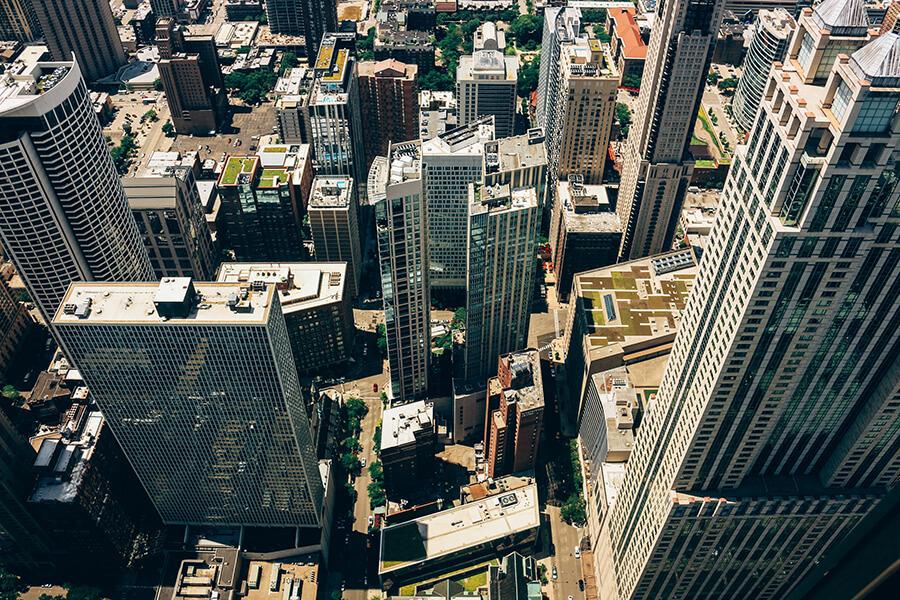 City block drone photo